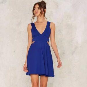 Uptown | Blue Cutout Skater Dress